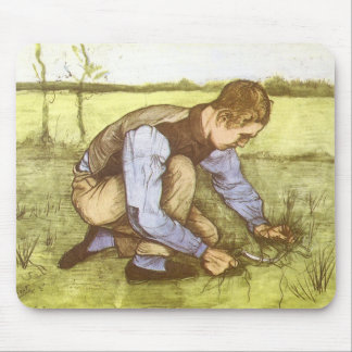 Boy Cutting Grass with Sickle by Vincent van Gogh Mouse Pad