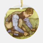 Boy Cutting Grass with Sickle by Vincent van Gogh Christmas Tree Ornament