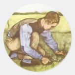 Boy Cutting Grass with Sickle by Vincent van Gogh Classic Round Sticker