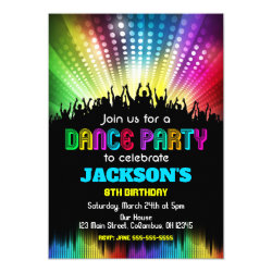 Boy Dance Party Birthday Invitation
