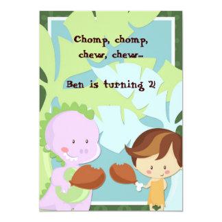 "Boy Dino Invites- ""Chomp, Chew"" 5x7 Paper Invitation Card"