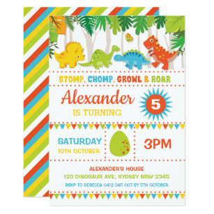 Boy Dinosaur Birthday Roar Dino Mite Party Invitation