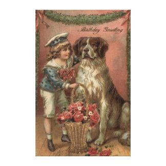 Boy Dog Rose Basket Birthday Canvas Print