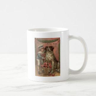 Boy Dog Rose Basket Birthday Mug