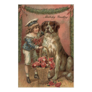 Boy Dog Rose Basket Birthday Photo Print
