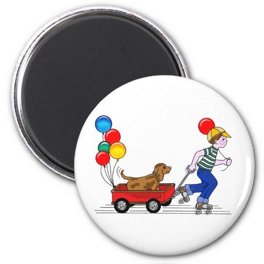 Boy, Dog, Wagon and Balloons copy Magnet