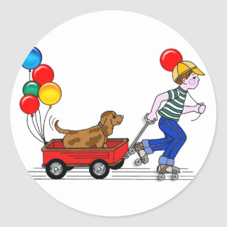 Boy, Dog, Wagon and Balloons copy Classic Round Sticker