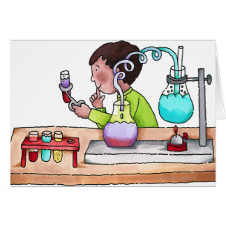 Boy Doing Science Experiment Greeting Card