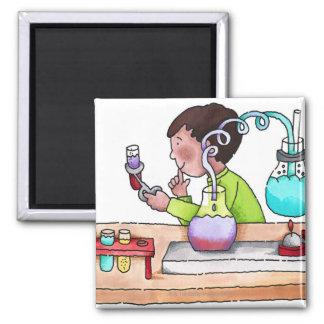 Boy Doing Science Experiment Fridge Magnet