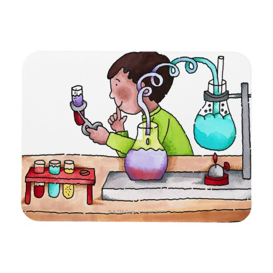 Boy Doing Science Experiment Magnet