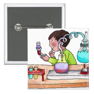 Boy Doing Science Experiment Pinback Button