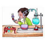 Boy Doing Science Experiment Post Card