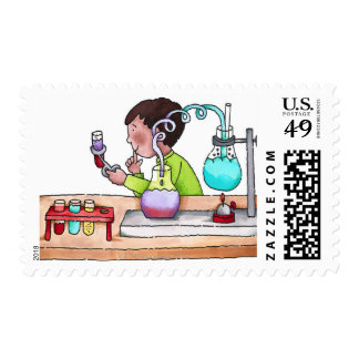 Boy Doing Science Experiment Postage
