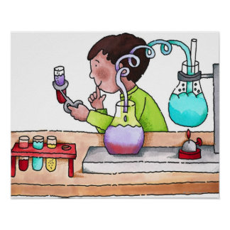 Boy Doing Science Experiment Poster