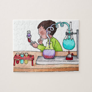 Boy Doing Science Experiment Jigsaw Puzzle