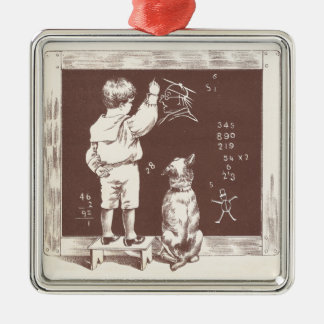 Boy Doing Sums on Slate Metal Ornament