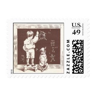 Boy Doing Sums on Slate Postage Stamp