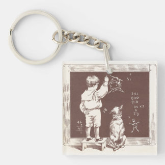 Boy Doing Sums on Slate Single-Sided Square Acrylic Keychain