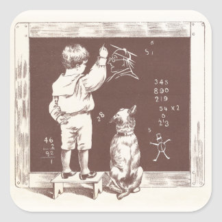 Boy Doing Sums on Slate Square Sticker