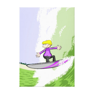 Boy doing surf with its favourite table canvas print
