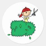 Boy Doing Yardwork Sticker