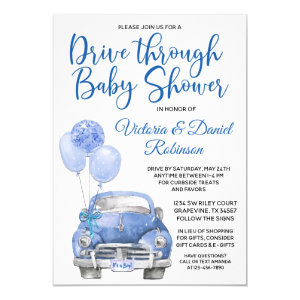 drive thru baby shower invitation template for boy, Car