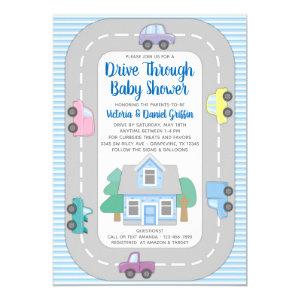Boy Drive Through Baby Shower Invitation