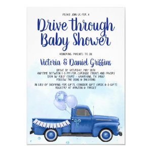 Drive Through Baby Shower Invitations for Boys, Truck