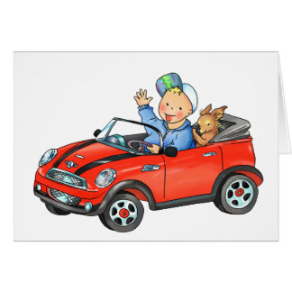 Boy Driving Red Toy Car Greeting Card