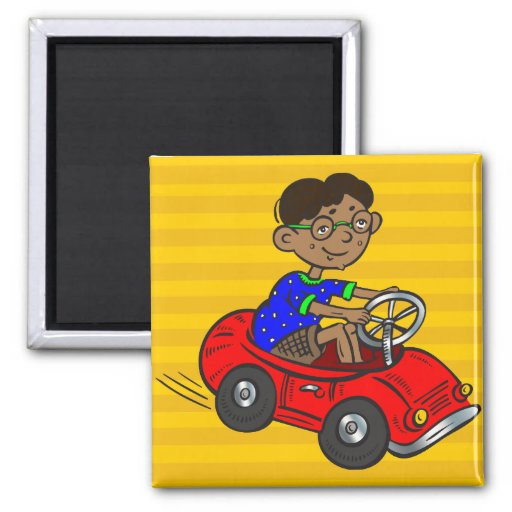 Boy Driving Toy Car 2 Inch Square Magnet