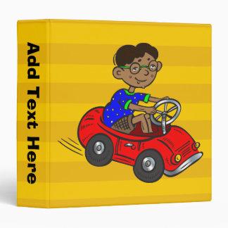 Boy Driving Toy Car 3 Ring Binder