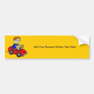 Boy Driving Toy Car Bumper Sticker