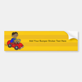 Boy Driving Toy Car Bumper Sticker