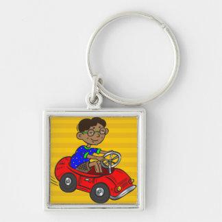 Boy Driving Toy Car Key Chain