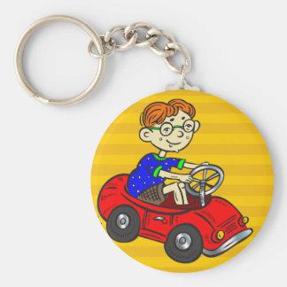 Boy Driving Toy Car Keychains