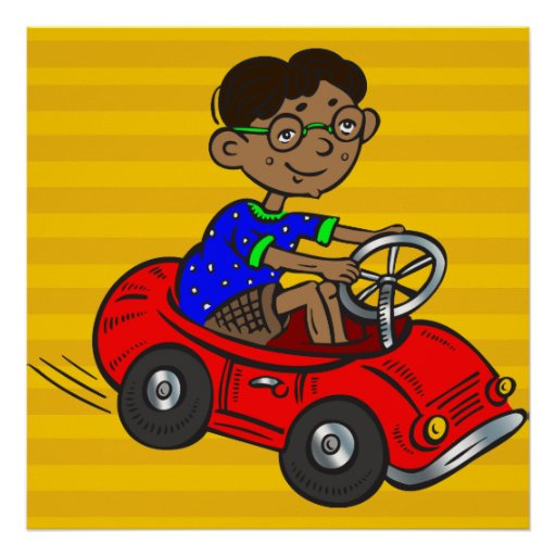 Boy Driving Toy Car Poster