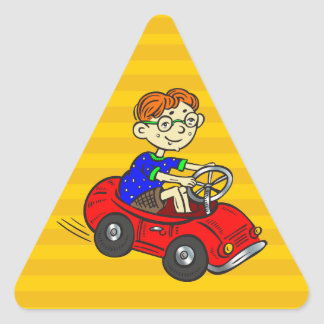 Boy Driving Toy Car Triangle Sticker