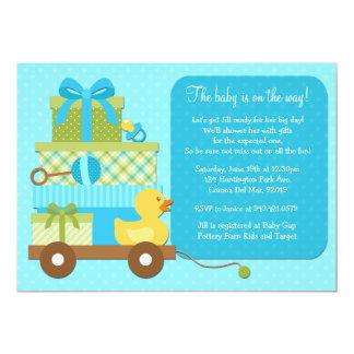 "Boy Duck Baby Shower Invitation 5"" X 7"" Invitation Card"