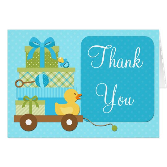 Boy Duck Baby Shower Thank You Card
