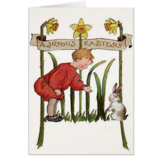 Boy Easter Bunny Daffodil Jonquil Card