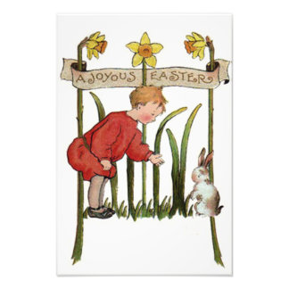 Boy Easter Bunny Daffodil Jonquil Photo Print