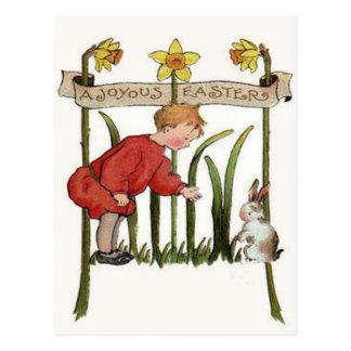 Boy Easter Bunny Daffodil Jonquil Postcard