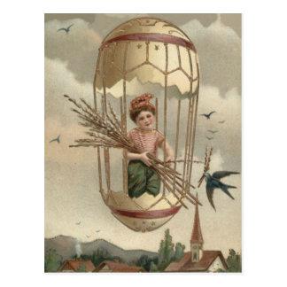 Boy Easter Egg Bird Sky Air Balloon Postcard