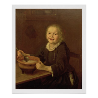 Boy eating Porridge (oil on canvas) Poster