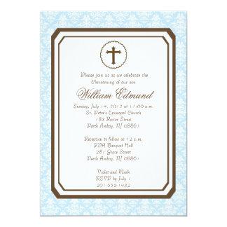 "Boy Elegant Christening Invitation - Blue 5"" X 7"" Invitation Card"