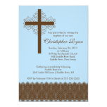 "Boy Elegant Lace  Baptism | Christening Cross 5"" X 7"" Invitation Card"