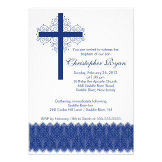 Boy Elegant Lace Baptism Christening Cross Personalized Invitation