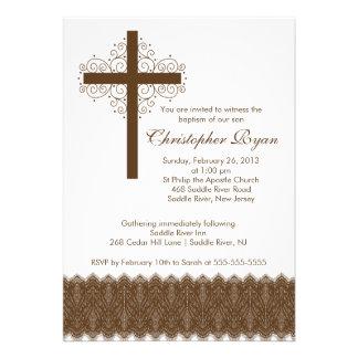 Boy Elegant Lace Baptism Christening Cross Card
