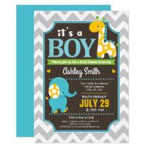 Boy Elephant and Giraffe Baby Shower Invitation