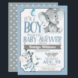 "Boy Elephant and Zebra Baby Shower Invitation<br><div class=""desc"">Cute blue and gray / grey elephant and zebra boy baby shower invitation.  Great invite for jungle,  safari,  zoo animals theme baby showers.</div>"